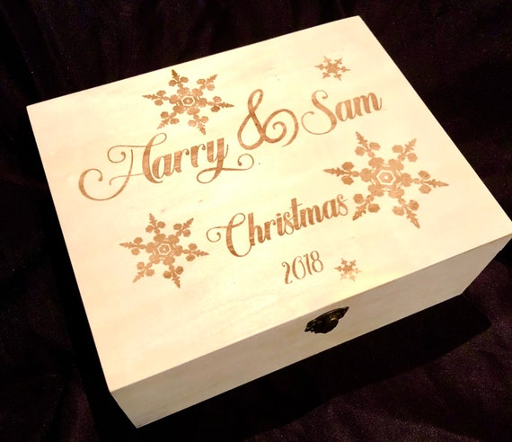 CHRISTMAS EVE personalised engraved wooden box, etched, storage, child, 2018, gift, present kids, boy girl xmas toy