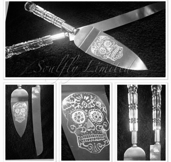 SUGAR SKULL, wedding, cake server, gift, personalised, set, mr & mrs, engraved, etched, day of the dead, candy, dia de los muertos