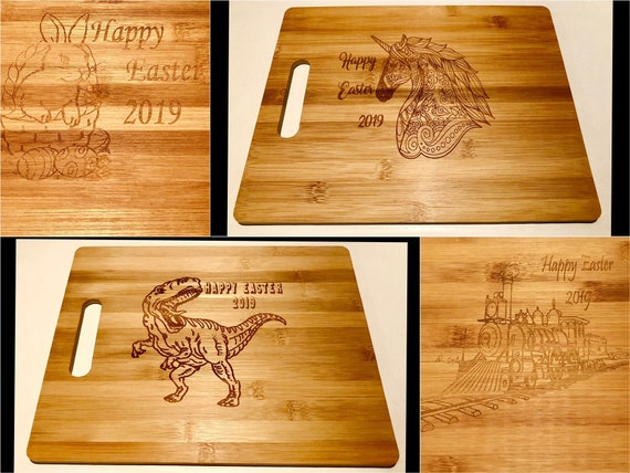 ENGRAVED WOODEN EASTER board, childrens gift, any design , personalised with name, unicorn, dinosaur, boy girl, train, egg