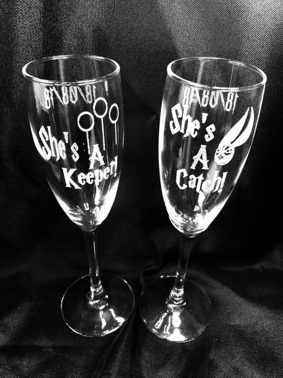 Gay, lesbian, LGBT Harry potter shes a keeper shes a catch, pair glasses, champagne, set 2, gift, wedding, personalised, etched, engraved he