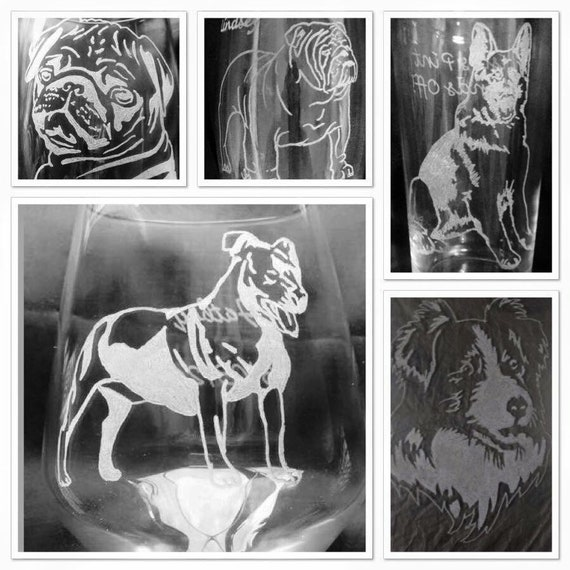 ANY DOG BREED personalised, Engraved, Etched glass, Beer, pint, tankard, wine,champagne, wedding, gift, christmas, mum, mom, dad,