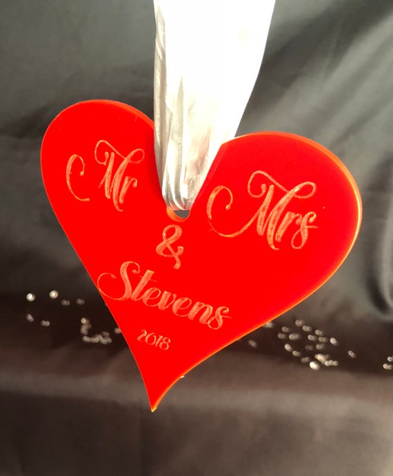 ENGRAVED HEART DECORATION Mr & Mrs christmas 10cm acrylic etched memorial, xmas, decoration, bauble, pink, blue purple, red lgbt