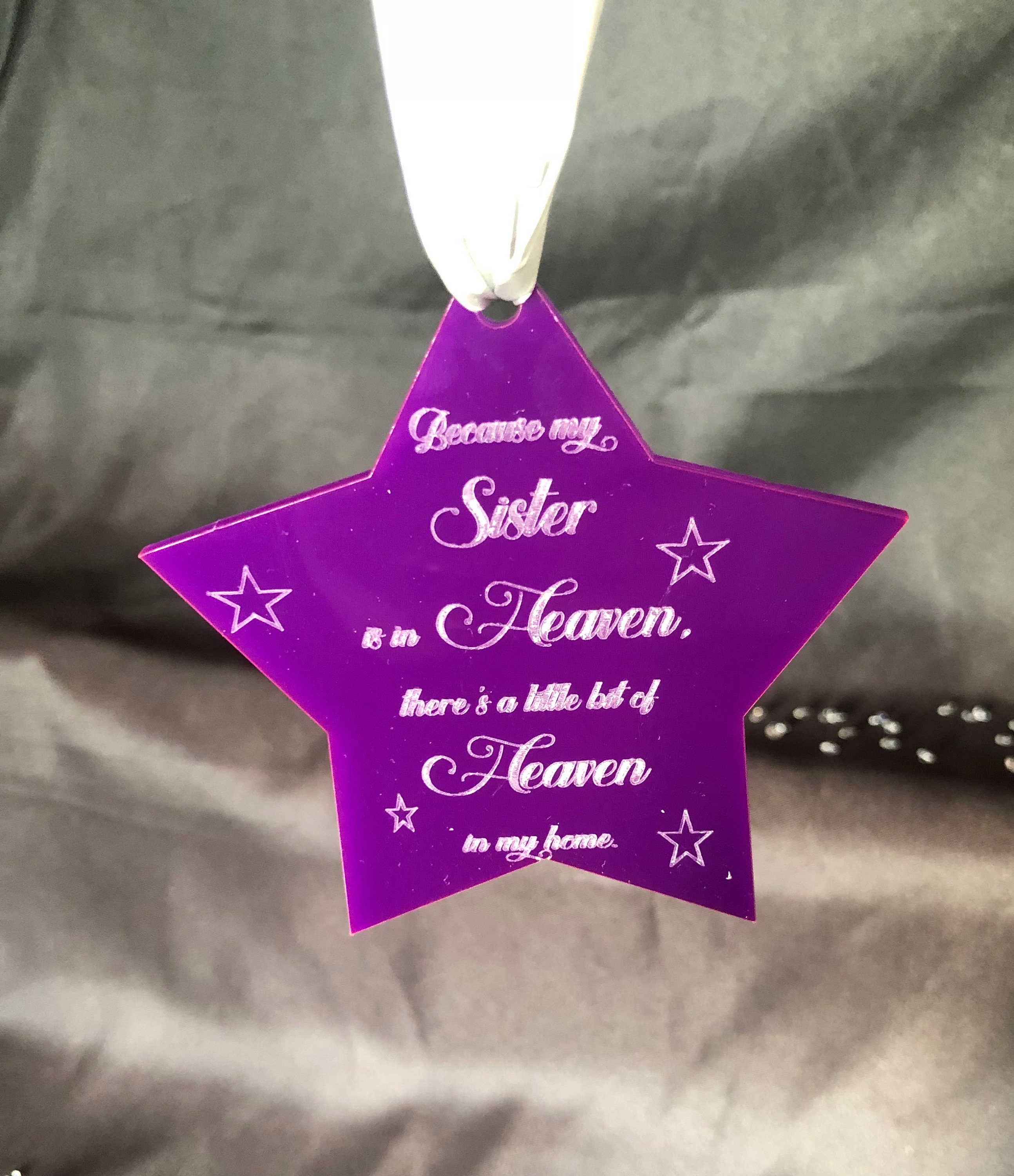 Engraved Star Heaven Quote Christmas 10cm Acrylic Etched Memorial