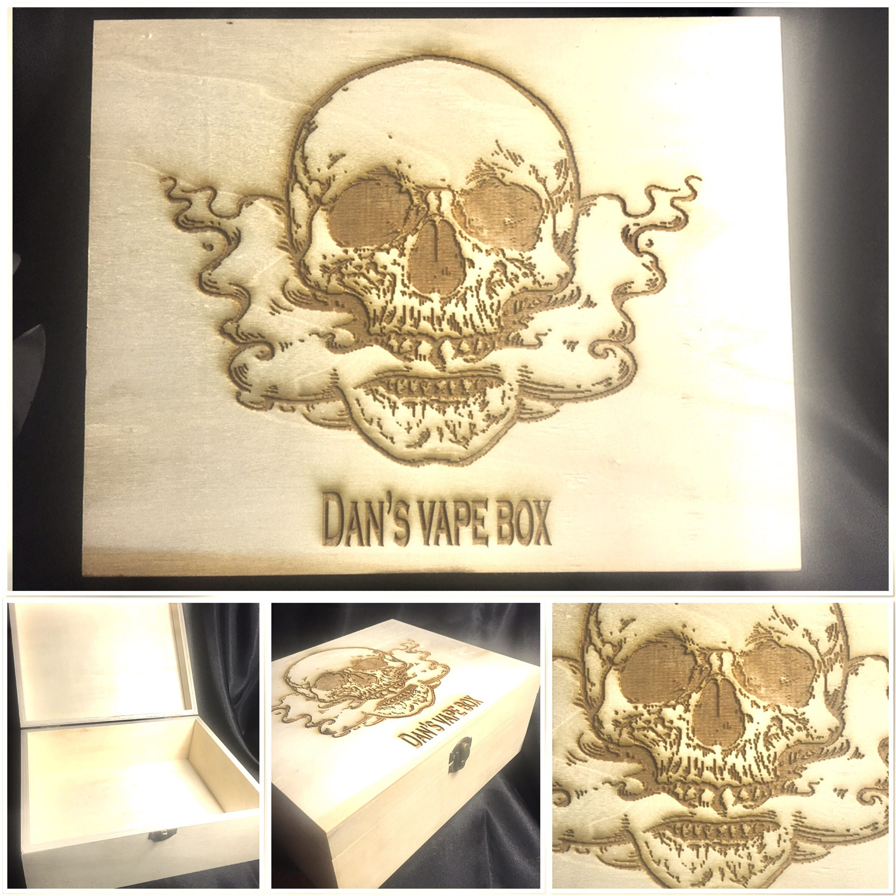 SKULL engraved wooden box, personalised, etched, storage