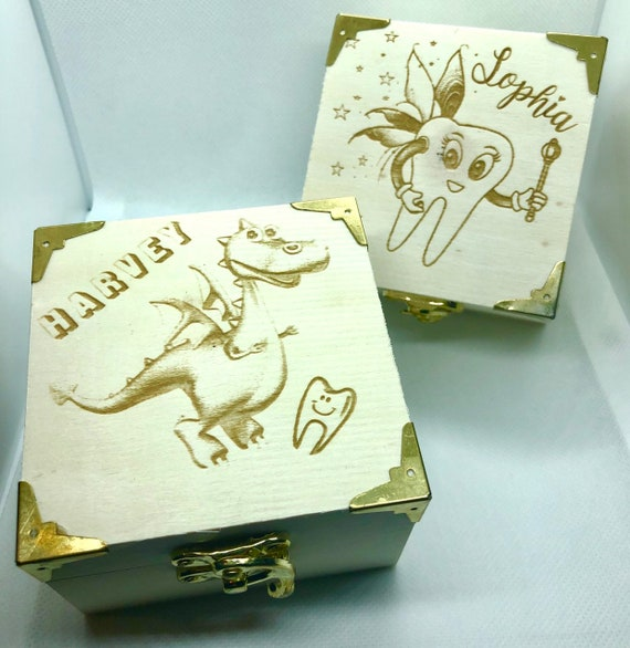 TOOTH FAIRY box, engraved, etched, wooden, personalised, name, girl, boy, first, dragon, keepsake, storage, gift, wood, coin