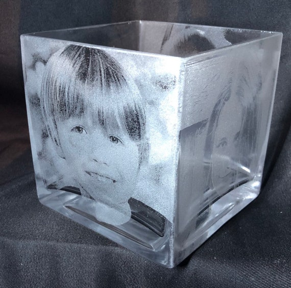 PHOTO ENGRAVED VASE child glass etched picture, memorial,pet, Mother's Day, personalised, cat, dog, horse, mum, dad, daughter, son, gift,
