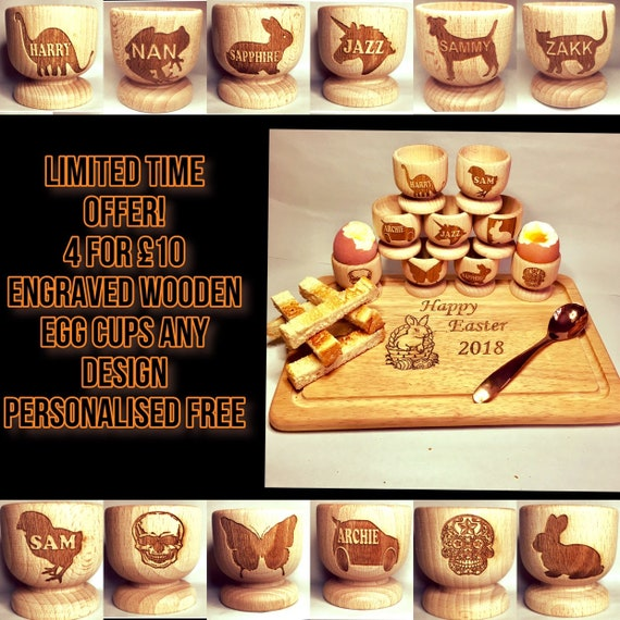 Offer 4 for 10 ENGRAVED WOODEN EGG cups, childrens gift, any design , personalised with name, unicorn, dinosaur,  easter, boy girl, train,
