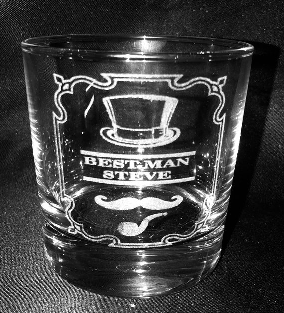Engraved wedding glass, groom, best man, usher, father, dad, personalised, etched, whiskey, tankard, pint, beer, gift, men, favor, wine, hat