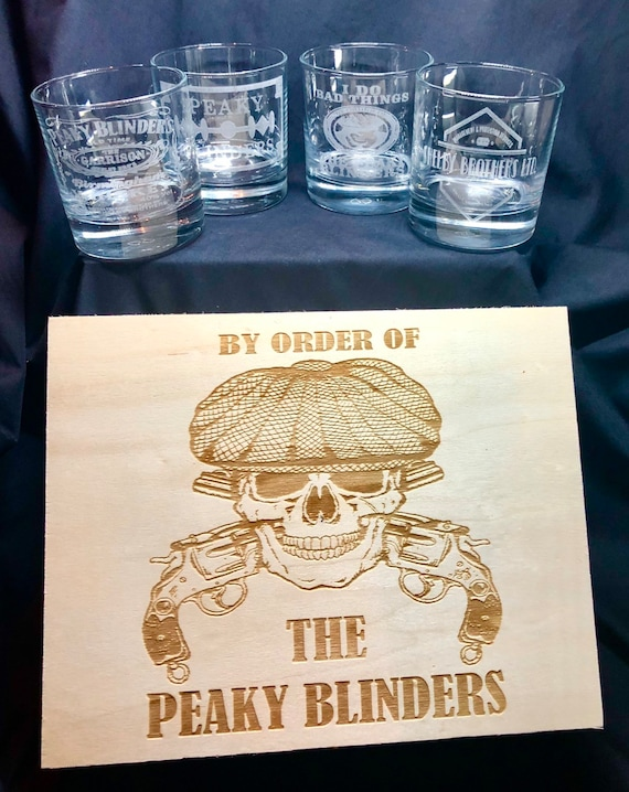 PEAKY BLINDERS GIFT set, engraved, etched, wooden box, personalised, 4 whisky glasses, gift, men, shelby brothers, by order, tommy, dad