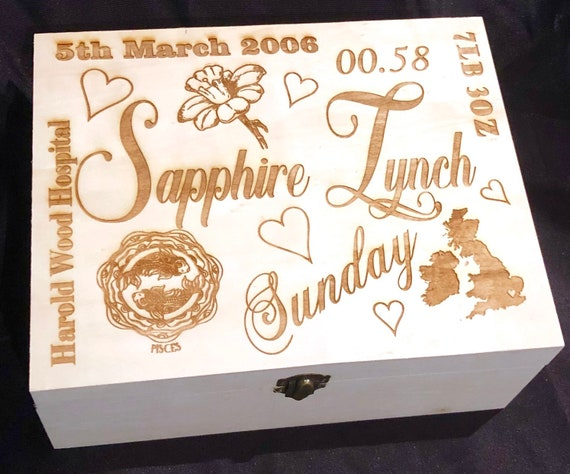 ENGRAVED MEMORY keepsake personalised wooden box, etched, storage, child, gift, baby, memorial, loss, time date weight grandad nanna mum dad