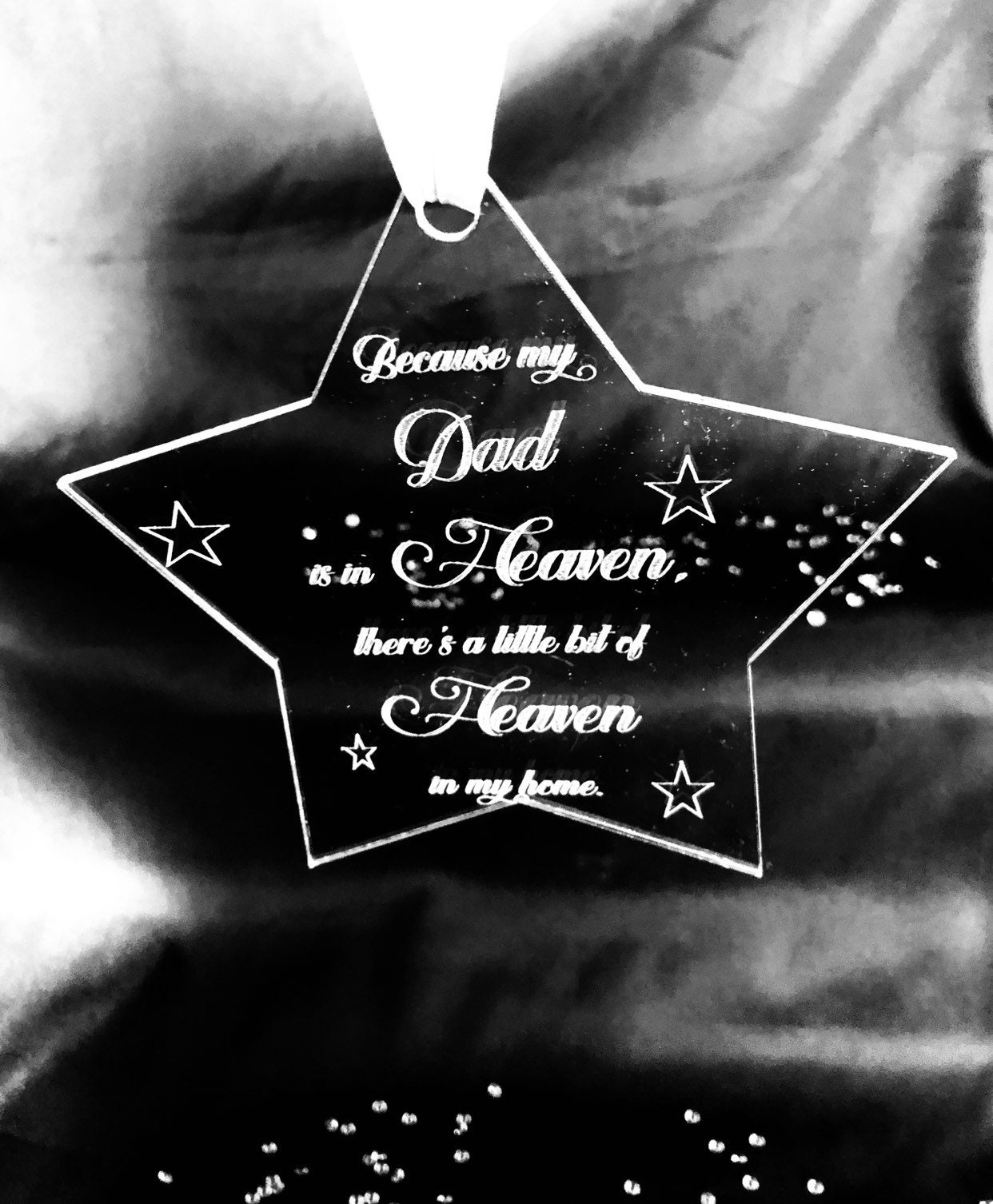 Engraved Star Heaven Quote Christmas 15cm Acrylic Clear Etched