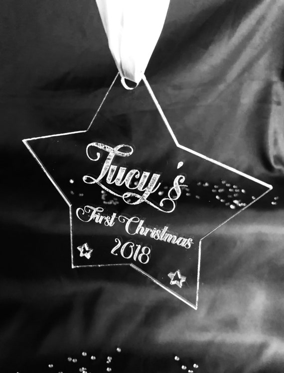 ENGRAVED STAR FIRST christmas 15cm acrylic, clear, etched, memorial, xmas, decoration, bauble, son, daughter, pet, mum, dad,mr mrs