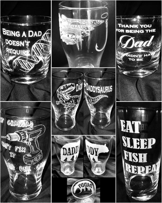 FATHERS DAY engraved glass special offer, dad, grandad, step parent, etched, personalised, beer, wine, dna, papa pops daddy dinosaur fishing