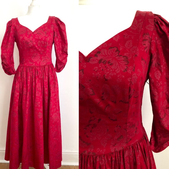 Vintage Laura Ashley 1980s Dress Scarlet Red size
