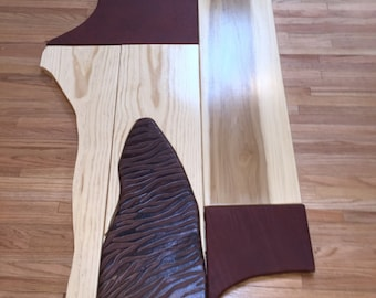 Unusual Beautiful Abstract Redwood Pine Poplar Leather Coffee Table