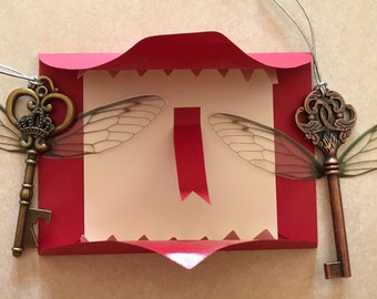 Flying Key Ornament with Howler Envelope valentine personalized option