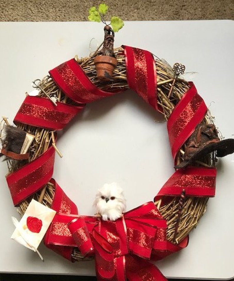 Harry Potter Inspired Holiday Wreath with Mandrake Flying image 0