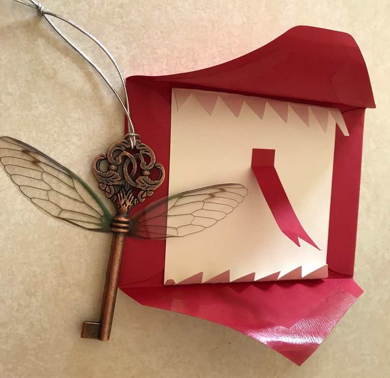 Flying Key Ornament inspired by Harry Potter with Howler image 0