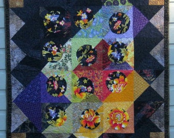 Golden Tip ~ a deluxe quilted throw, luxury quilt, bed cover, couch or chair decor, sophisticated black & gold frame the garden flowers