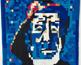 Portrait of A  Fisherman with a So'Wester inspired by drawings from VinCent Van Gogh a wall quilt art quilt for the hall, living/dining room