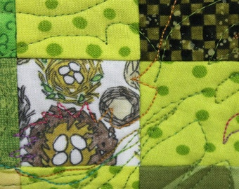 NEST ~ a small wall  art quilt for the nursery, kitchen, porch, front hall or basement bathroom
