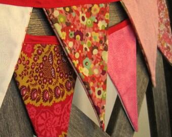 Festive String Pennant~ Reversible Colorful Flag Banner ~