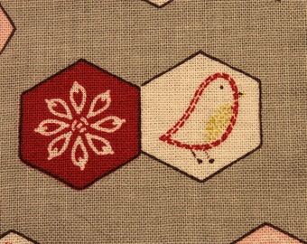 Hexagons, Chicks and Snowflake Flower Panel~ a Small Wall Art stand. Chicks Sew- framed fabric decor