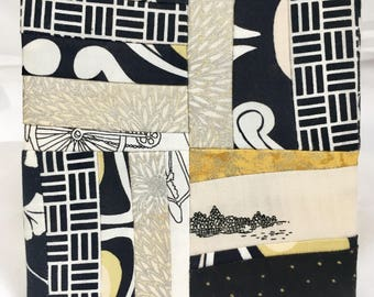 Touring a Village by Bicycle~ a small wall art stand, framed fabric decor, quilt block in black white and gold evoke travel and adventure