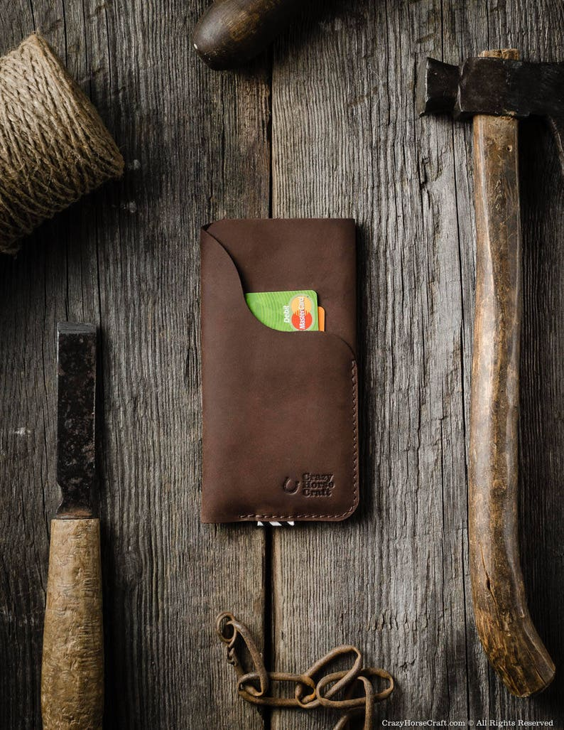 best service cedc9 290a4 Leather iPhone SE case, wallet with card pocket. Crazy horse brown Leather  iPhone SE sleeve. iPhone 8 sleeve leather iPhone X sleeve case