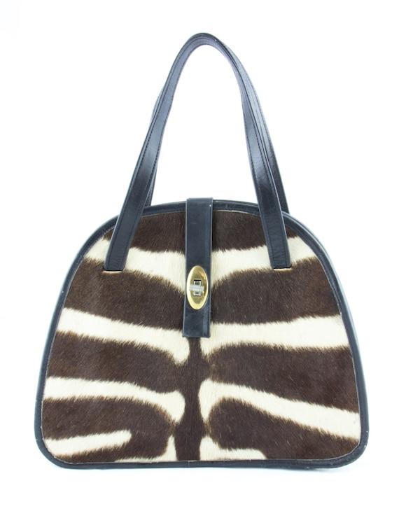 Vintage Zebra Printed Handbag