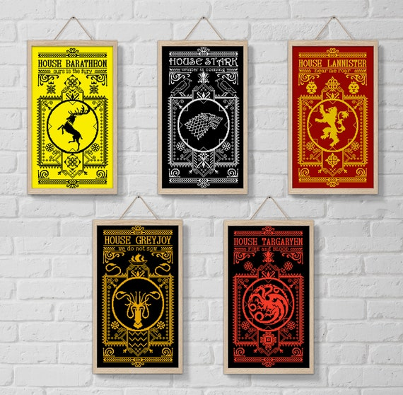 Set 1 Cross Stitch Patterns Houses Game Of Thrones Got Etsy