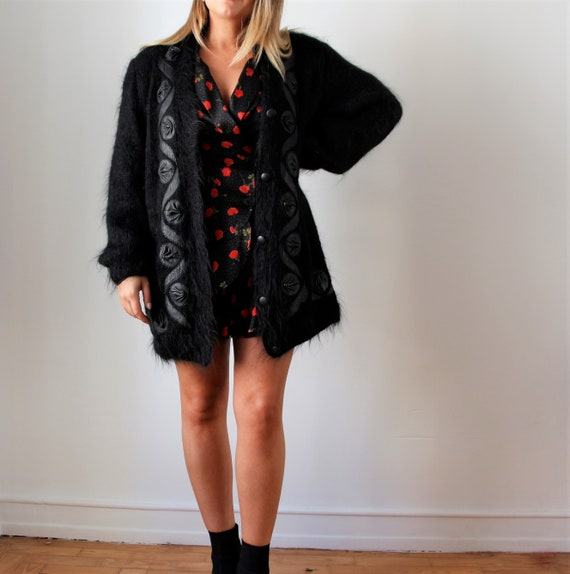 Vintage Mohair Cardigan | Red Knit Cardigan | Over