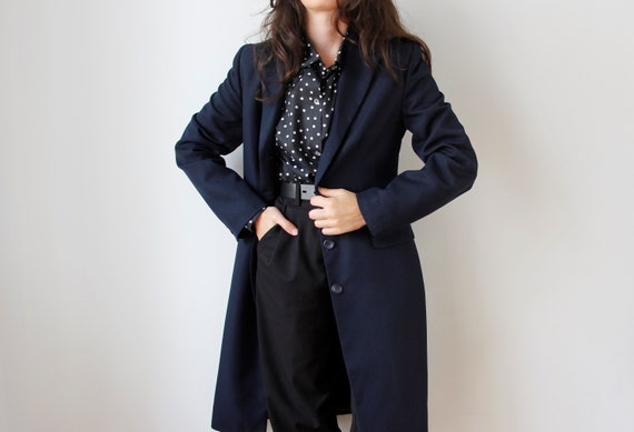 Vintage Minimalist Navy Jacket | Long Navy Blue C… - image 2