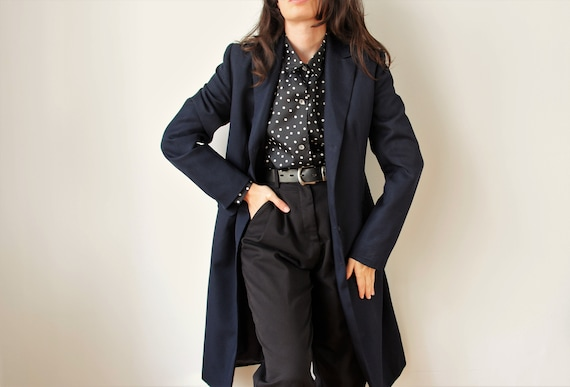 Vintage Minimalist Navy Jacket | Long Navy Blue C… - image 1