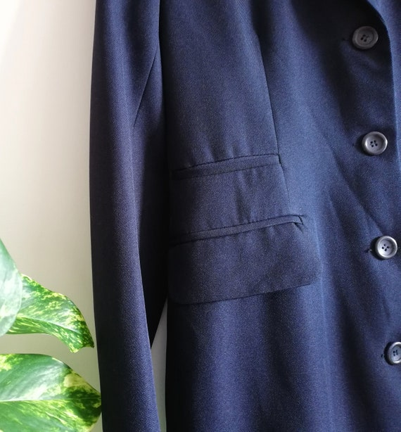 Vintage Minimalist Navy Jacket | Long Navy Blue C… - image 8
