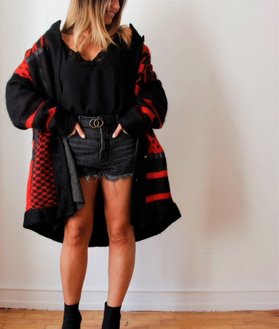 Vintage Wool Cardigan | Red Knit Cardigan | Wool C