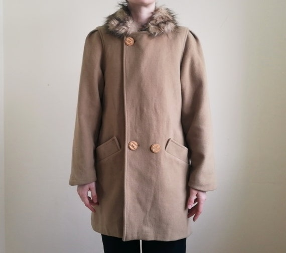 Vintage Tan Overcoat | Fake Fur Collar Coat | Tan