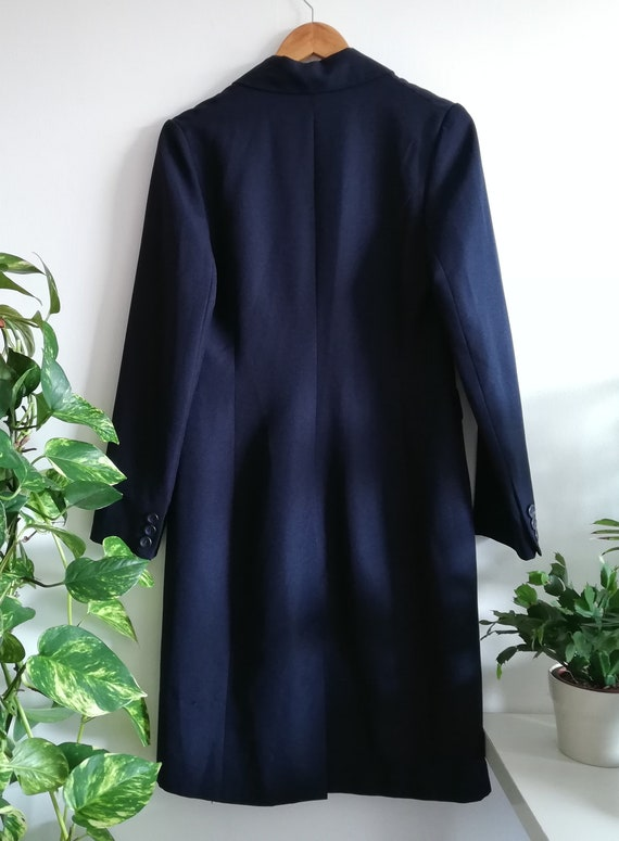 Vintage Minimalist Navy Jacket | Long Navy Blue C… - image 9