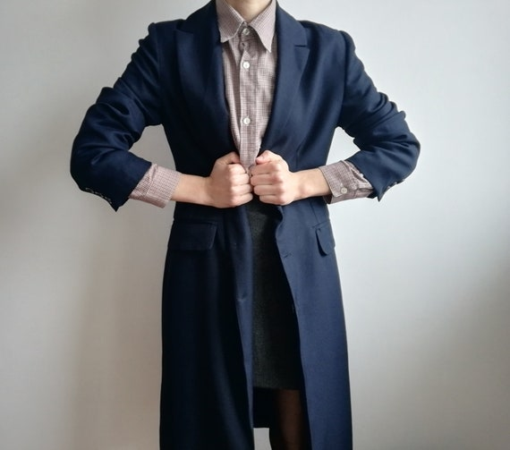 Vintage Minimalist Navy Jacket | Long Navy Blue C… - image 3