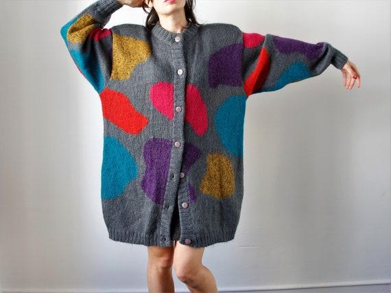 Vintage Mohair Cardigan | Knit Cardigan | Oversize