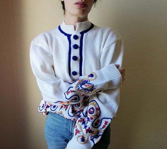 Hand Embroidered Shirt | Vintage White Knitted Swe