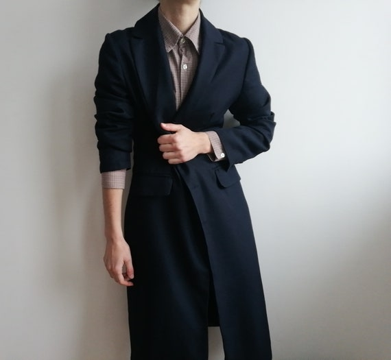 Vintage Minimalist Navy Jacket | Long Navy Blue C… - image 6