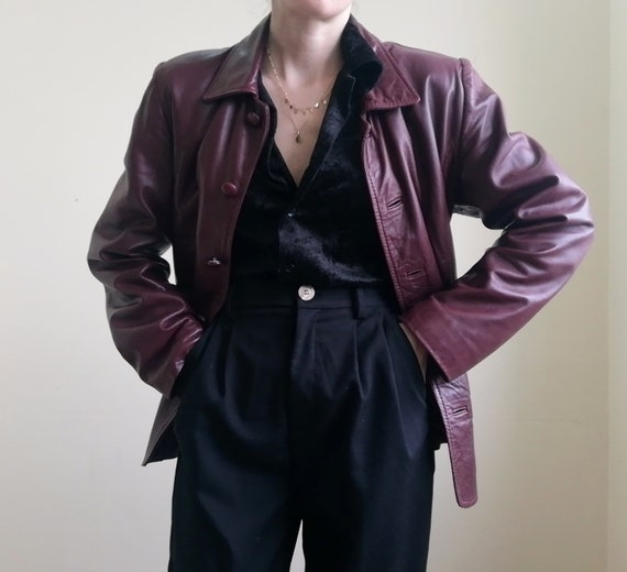 Vintage Leather Jacket | Burgundy Leather Jacket |