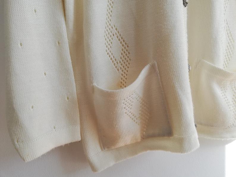 Knit White Sweater Minimalist White Cardigan Oversized Cardigan Embroidered Cardigan Vintage Knit Cardigan