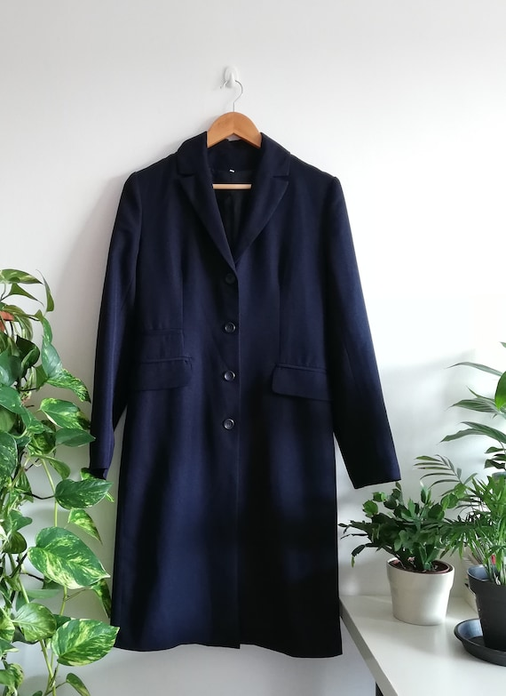 Vintage Minimalist Navy Jacket | Long Navy Blue C… - image 7