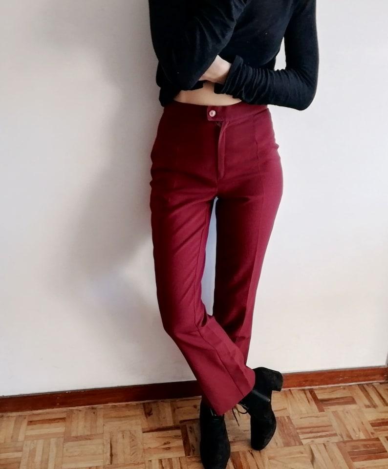 High Waist Trousers Straight Legs Ankle Pants XS Pants Vintage 80/'s Burgundy Pants