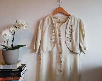 Vintage Beige Neutrals Short Jumpsuit / Button up White Jumpsuit