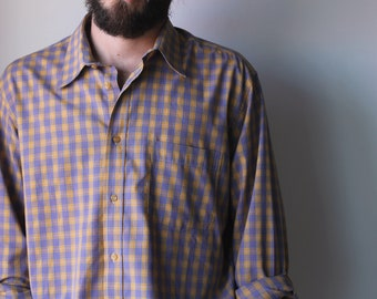 Vintage Yellow Checkered Long Sleeve Button Shirt Mens Large | Men's Vintage