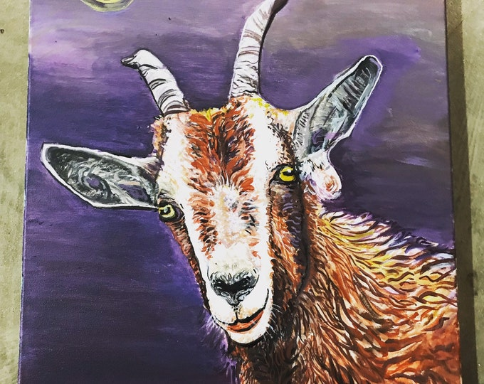 """Featured listing image: Mysterious GOAT Original Acrylic Painting Signed by Dennis Burt - 20"""" x 16 """"Ritual"""""""