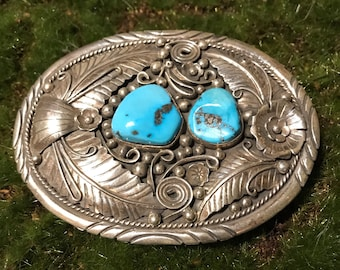 Large Authentic Sterling Silver Navajo Sleeping Beauty Turquoise Belt Buckle w/Feathers & Flowers, signed by artist Betta Lee